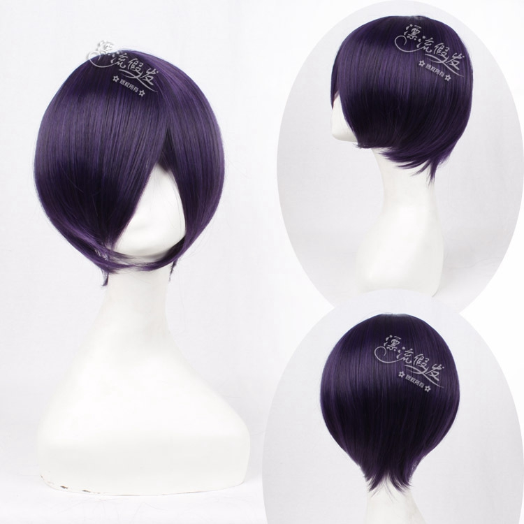 Noragami Yato 35cm Short Straight Purple Heat Resistant Synthetic Hair Wig for Man Boys High Quality Cosplay Wig Free Shipping<br><br>Aliexpress