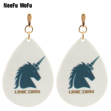 Drop Earrings Unicorn Big Earring for Women Printing Painting Bohemia Water Earrings Brincos Celebrity Halloween Christmas Gifts(China)