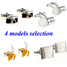 Fashion Engrave Camera Bananna Bulb Lamp Cufflink Cuff Link 1 Pair Free Shipping Biggest Promotion(China)