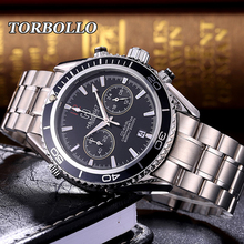 TORBOLLO Men's Watches Luxury Military Waterproof Quartz Wrist Watch Men Stainless black Business Casual Male Clock Reloj Hombre