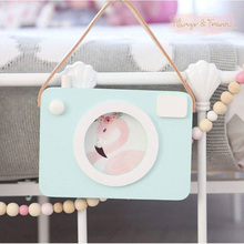 2017 INS Wooden Camera Photo Frame Cute Cartoon Baby Party Photography Props Children's Room Decoration Figurines Birthday Gift
