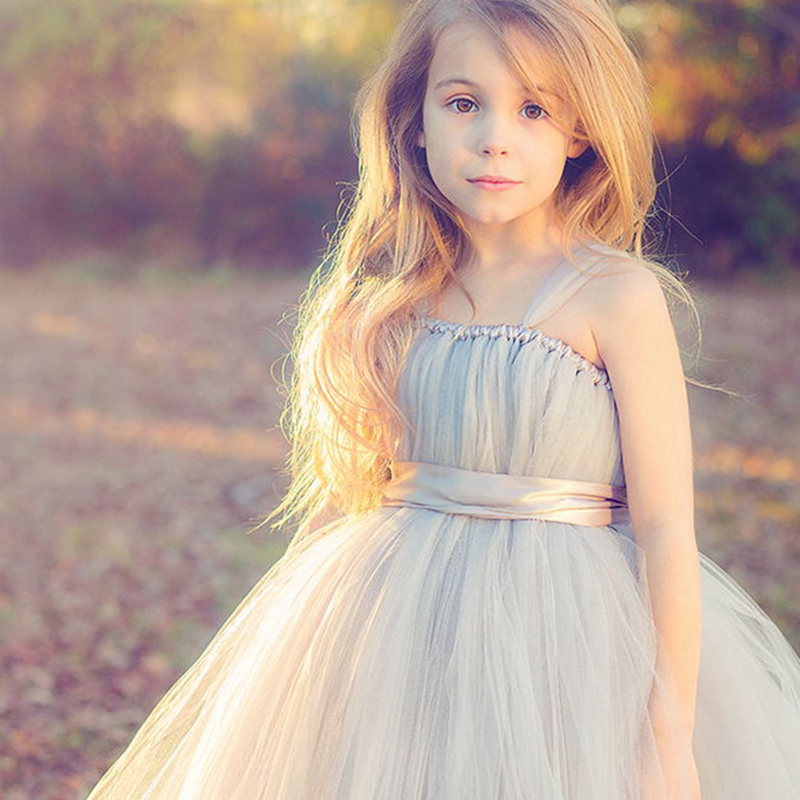 New 2018 tulle gray baby bridesmaid flower girl wedding dress fluffy ball gown USA birthday evening prom cloth tutu party dress<br>