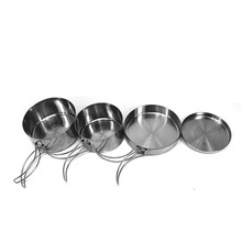 4 Pieces/Set Outdoor Portable Camping Picnic Cookware Tableware Stainless Steel Pan Pot Bowl Cooking Sets T28