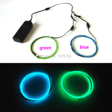 Hot sales 1Meter x 2pieces 1.3mm Led Neon thread light Powered by 2AA 3V EL driver Flexible LED Strip EL Wire Rope Tube
