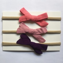 3pcs/pack Handmade Newborn kids Bow Nylon Headbands Soft Nylon Headwear Nylon Elastic Head band
