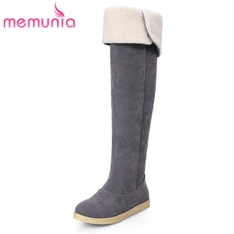 2017 hot sale skid resistance over the knee boots flat women shoes fashion round toe simple slip on pu leather winter snow boots<br><br>Aliexpress