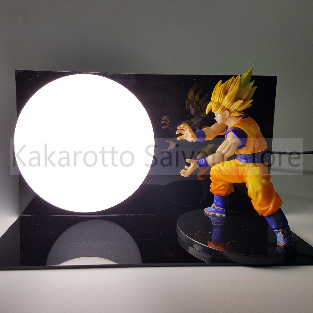Dragon Ball Z Action Figures Dramatic Showcase Son Goku Kamehameha DIY Model Toys Dragonball Esferas Del Dragon DBZ+Bulb+Base<br>