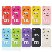 New Arrive M&M's chocolate candy rubber soft silicone cartoon cell phone case cover for iphone4 4S 5 5S 6 4.7inch C001