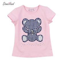 2017 fashion summer children brand domeiland clothing kids girl short sleeve print tendy bear cotton t shirts tops baby clothes