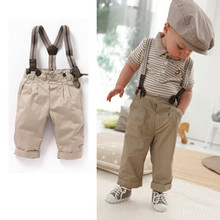 2013 newest free shipping baby boy retro handsome summer clothing set(short sleeve t-shirt+suspender trousers) kids garment(China)