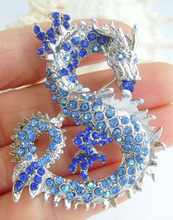 Unique Chinese Dragon Brooch Pin Pendant Blue Rhinestone Crystal EE02980C7(China)