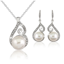 RONGQING 1Sets/lot Elegant Simulated Pearls Earrings Necklace Set Unique Wedding Necklace Earring Sets Women