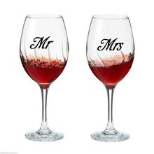 DSU  20pcs/set of Mr & Mrs Wine glass jar wedding Decal Stickers Vinyl Removable Kitchen Wall tile Stickers Birthday Decoration