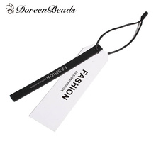 "DoreenBeads Paper Label Tags Rectangle Black & White Message Pattern Bags Shoes Garment Tags 11.8cm(4 5/8"") x 1cm(3/8""), 10 Sets(China)"