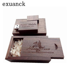 exuanck Wooden Walnut flash stick usb 2.0 4GB 8GB 16GB 32GB 64GB can engrave company logo (over 20 pcs free logo)(China)