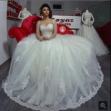 Buy Vestido De Noiva 2016 Wedding Dresses Sweetheart neck Sleeveless bride dress Lace Applique Tulle White Bridal Gowns for $200.80 in AliExpress store