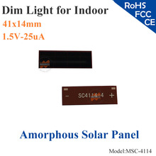 41x14mm 1.5V 25uA dim light Thin Film Amorphous Silicon Solar Cell ITO glass for indoor Product,calculator,toys,0-1.2V battery(China)