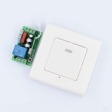 AC 220V 1CH 10A Relay Receiver + Transmitter Bed Room Hall LED Lamp Light Bulb Remote Control Switch + Wall Transmitter