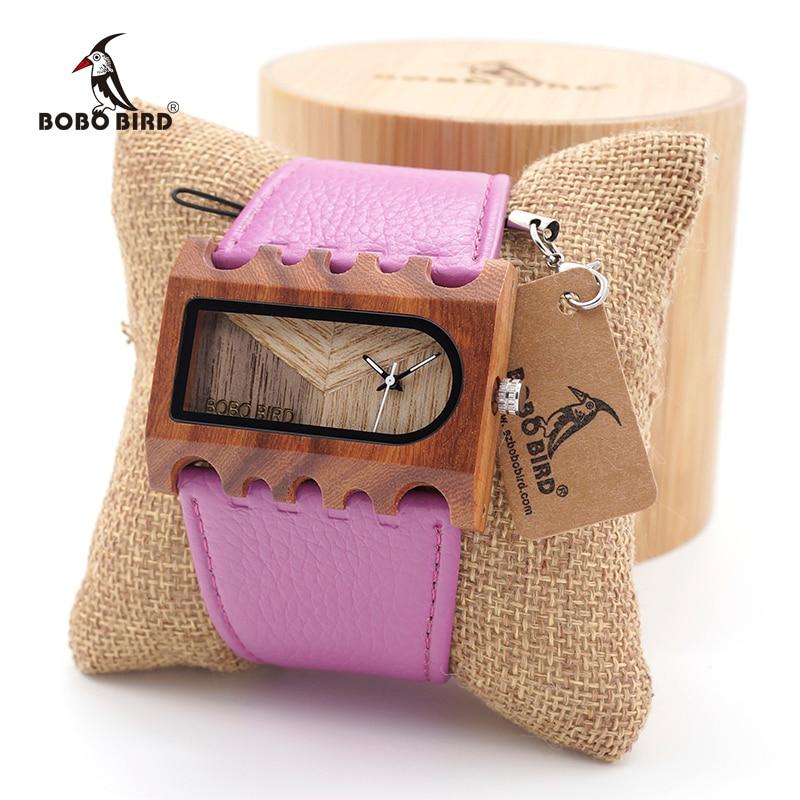 BOBO BIRD Handmade Unique Wood Rectangle Quartz Watch Lightweight For Women Dress Luxury wristwatch In Round Bamboo Box<br>