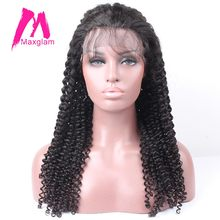 Maxglam Lace Front Human Hair Wigs For Black Women Lace Wig With Baby Hair Kinky Curly Brazilian Remy Hair Free Shipping(China)