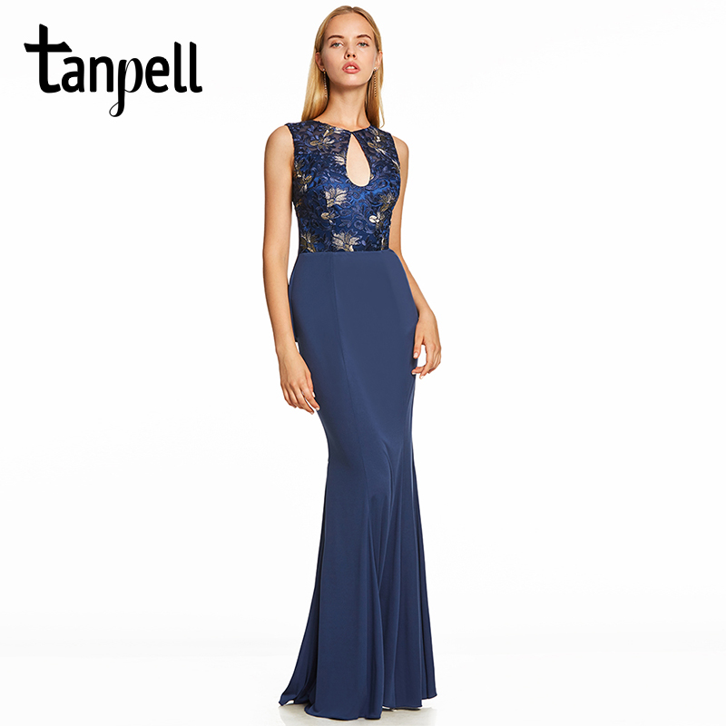 Tanpell embroidery evening dress dark royal blue sleeveless floor length gown women backless formal long mermaid evening dresses