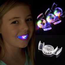 Novelty Flashing Flash Brace Mouth Guard Piece Festive Party Favor Supplies Glow Tooth Funny LED Light Kids Children Toys 1PC