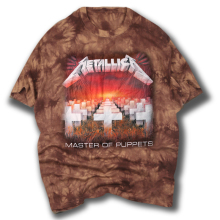 New Tie Dye Cemetery Cross Men's Red Brown T-Shirt Printed Metallica Metal Rock Band Tops Tee Shirts Men Brand Clothing 1721(China)