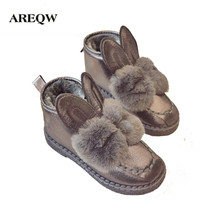 AREQW Classic Women Boots Rabbit ears Sequined Faux Fur Comfortable Warm Australia Boots Fashion Women Snow Boots Winter Shoes(China)
