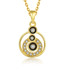 Simple Round Circle Enamel Black  Gold Plating Turkish Jewelry Fashion Ouro Chain Long Necklace New Crystal Pendant For Women