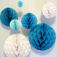Wholesale Retail 1Pcs 10inch Multi Colors 25cm Tissue Paper Flower ball Honeycomb Lantern Wedding decoration Holiday supplies(China)