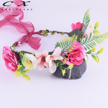 CXADDITIONS Peony Lily Flower Crown Floral Headwrap Adjustable HeadBand Wreath Wedding Hair Accessories Flores De Plastico Woman(China)