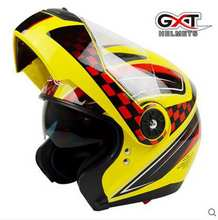 GXT motorcycle helmet double lens helmet electric safety helmet cover all four seasons yellow(China)