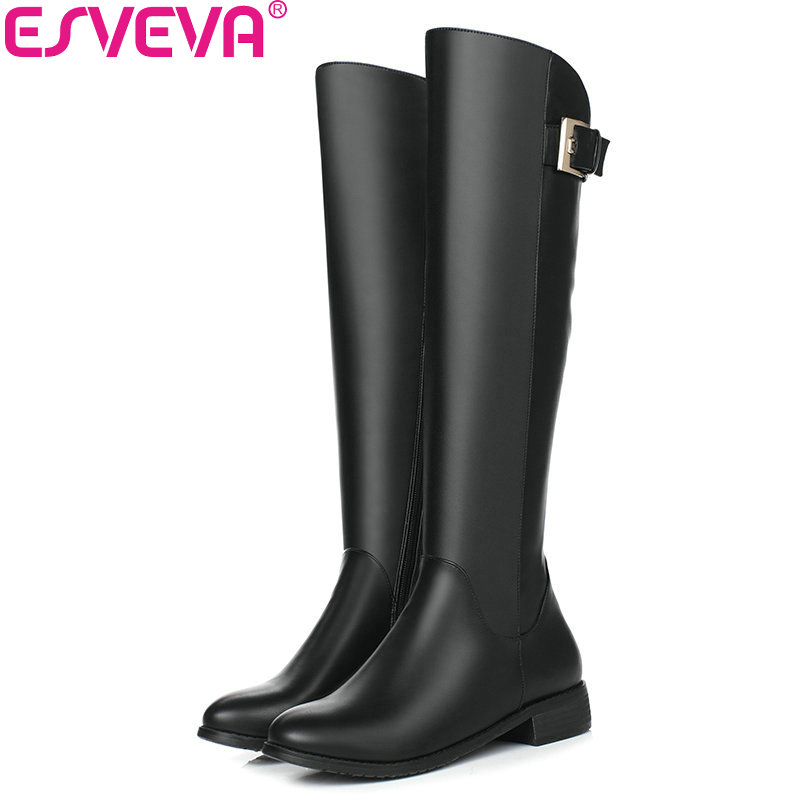 ESVEVA 2018 Buckle Women Boots Round Toe Western Style Low Heel Knee-high Boots Zippers Short Plush Ladies Boots Size 34-40<br>