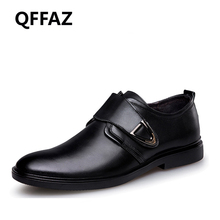 QFFAZ New Genuine Leather Men Dress Shoes High Quality Oxford Shoes For Men Lace-Up Business Men Shoes Wedding Men Shoes(China)