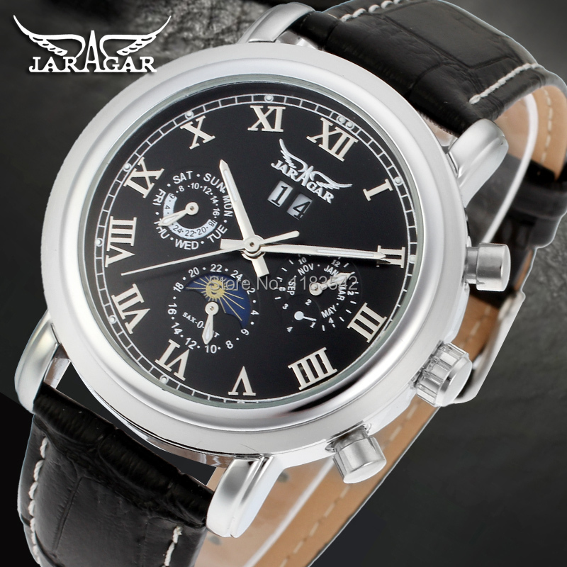 Jargar  Automatic silver color men wristwatch tourbillon black leather strap hot selling shipping free JAG349M3S2<br>