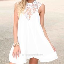 Women Sleeveless Round Neck Joint Dresses Hollow Out Lace Flower Dress Loose Sexy Short Dress Black/White