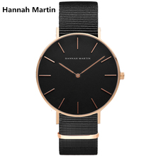 Two Needles Fashion Men Brand HM Hannah Martin Luxury Watches Simple Slim Design Nylon Leather Strap Quartz Wristwatch FD1030