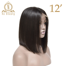 Brazilian Remy Hair Lace Front Human Hair Wigs Short Bob Wigs Women Girls 150% Density Natural Black Color Na beauty Hair