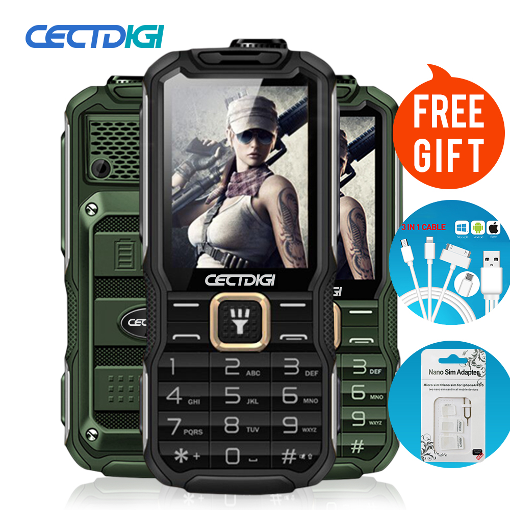 Cectdigi 2016 Latest T9900 Dual Sim Unlocked Cell Phone Quad Band Russian Keyboard 15800 mAh Power Bank Military Rugged Phone(China (Mainland))