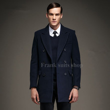 Custom made Men Woolen Coat Design Winter Warm Long Section Outerwear Casual Double Breasted Coat(China)