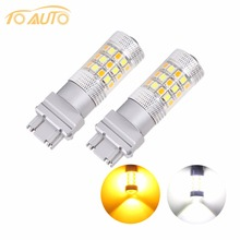 2 PCS 3157 Switchback Bulbs Turn Signal Light - 3056 3156 3057 LED Car bulbs - 42SMD Dual Color Amber / White