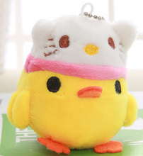 Kawaii 9*7CM NEW Chicken With Hello Kitty Toy , Plush Stuffed TOY DOLL , Keychain Plush Toy , Wedding Gift Plush TOY