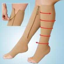 New Breathable Charming Shapper Women's Nude Zipper Compression Knee Socks Toe Relief Stockings M-L Gift