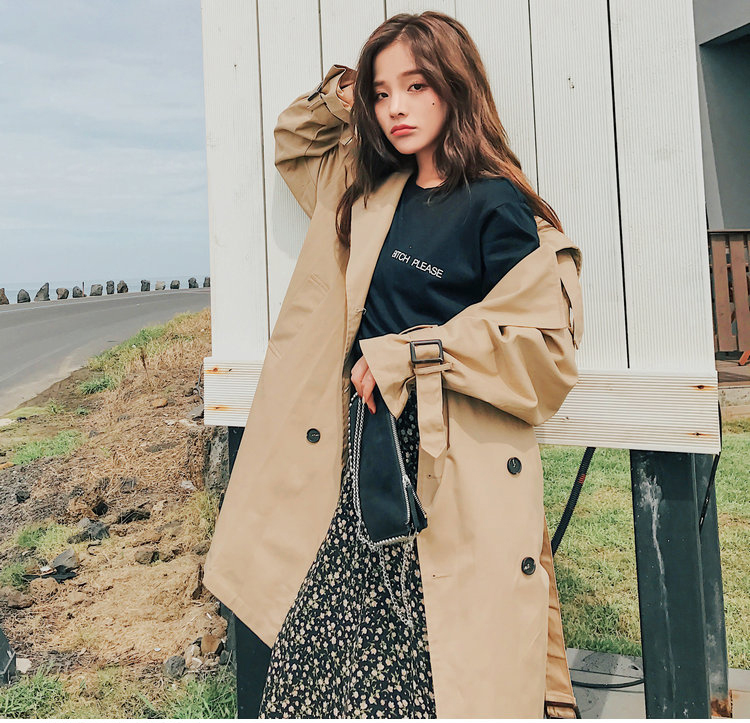 19 Fashion Brand New Women Trench Coat Long Double-Breasted Belt Khaki Office Lady Clothing Autumn Spring Outerwear Quality 12