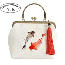 Vintage Embroidery Women Day Clutch Fish Tassel Chain Chinese Han Dynasty Cross-Body Tote Mori Girl Shoulder Messenger Bag