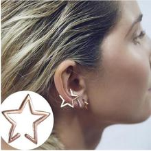 ED996 1pcs Plating Gold Silver and black Style Punk Star Design Clip Earrings Alloy Ear Cuff Wholesale