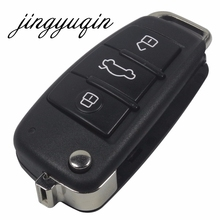 jingyuqin Replacement Folding Flip Remote Car Key Shell Case 3 Button Case For AUDI A2 A3 A4 A6 A6L A8 TT Without Blade