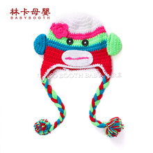2015 New Cute National Style Cartoon Infant Toddler Handmade Knitted Crochet Baby Monkey Hat Animal Cap