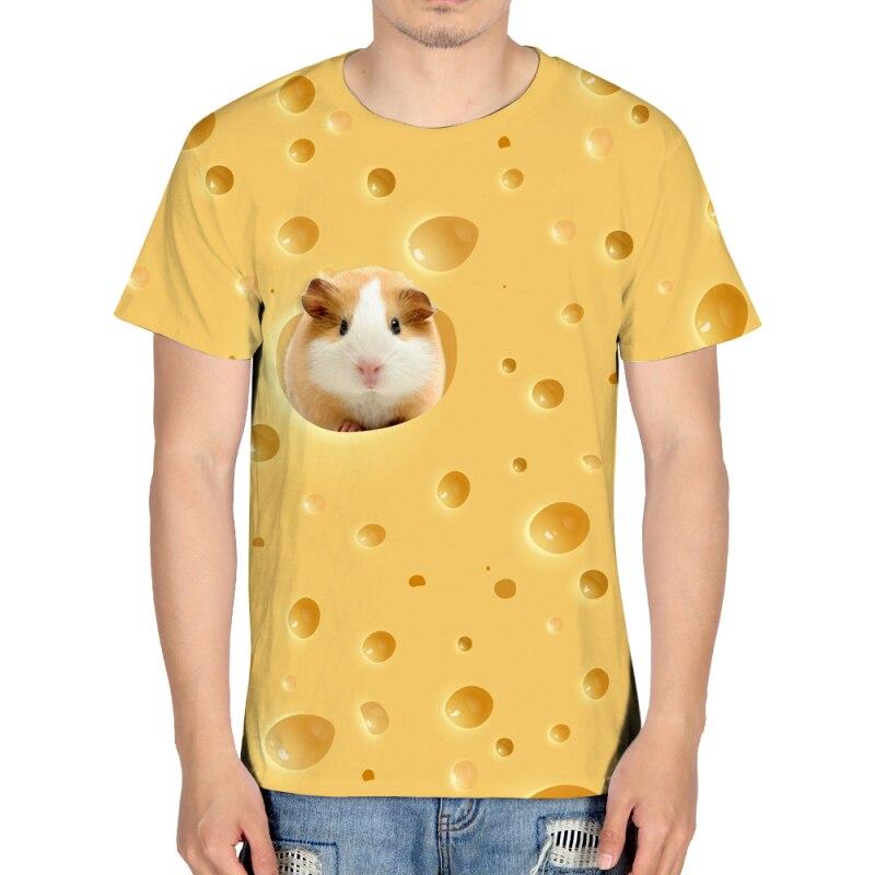 harajuku cute Hamster on cheese Print Men 3d animal funny Tshirt yellow Short Sleeve shirt Summer Tops Tees Male Clothing 2018
