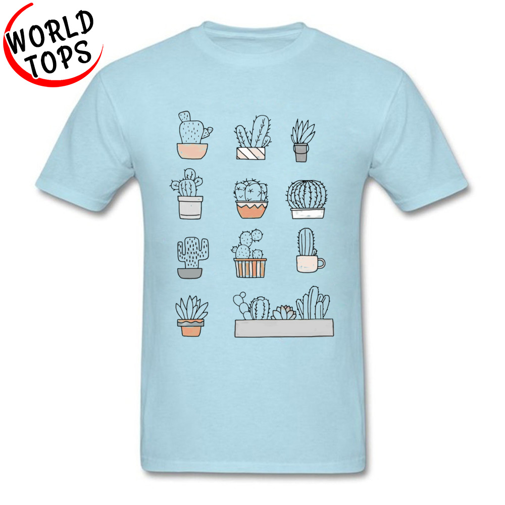 Fashionable Cactus -2387 Tops & Tees for Men Fitted Summer/Fall Round Neck Pure Cotton Short Sleeve Top T-shirts Cool T Shirt Cactus -2387 light